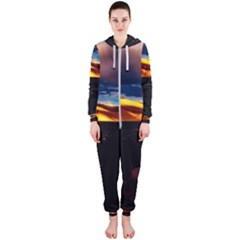 India Sunset Sky Clouds Mountains Hooded Jumpsuit (ladies)