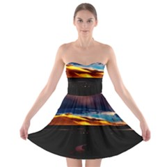 India Sunset Sky Clouds Mountains Strapless Bra Top Dress