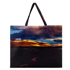 India Sunset Sky Clouds Mountains Zipper Large Tote Bag