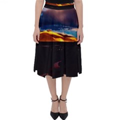 India Sunset Sky Clouds Mountains Folding Skater Skirt