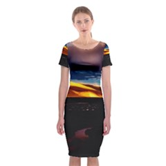 India Sunset Sky Clouds Mountains Classic Short Sleeve Midi Dress