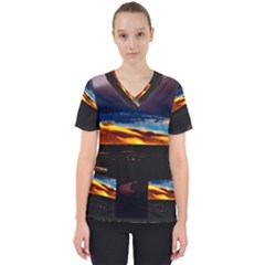 India Sunset Sky Clouds Mountains Scrub Top