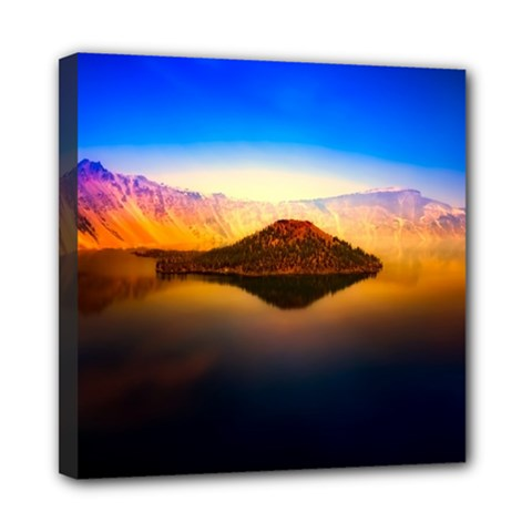 Crater Lake Oregon Mountains Mini Canvas 8  X 8