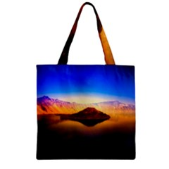 Crater Lake Oregon Mountains Zipper Grocery Tote Bag