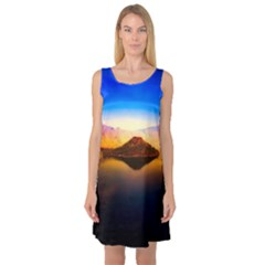 Crater Lake Oregon Mountains Sleeveless Satin Nightdress