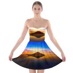 Crater Lake Oregon Mountains Strapless Bra Top Dress