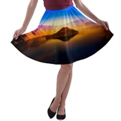 Crater Lake Oregon Mountains A Line Skater Skirt