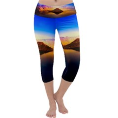 Crater Lake Oregon Mountains Capri Yoga Leggings