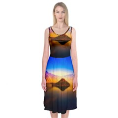 Crater Lake Oregon Mountains Midi Sleeveless Dress
