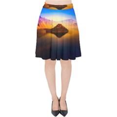 Crater Lake Oregon Mountains Velvet High Waist Skirt