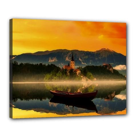 Bled Slovenia Sunrise Fog Mist Canvas 20  X 16