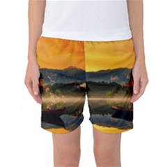 Bled Slovenia Sunrise Fog Mist Women s Basketball Shorts