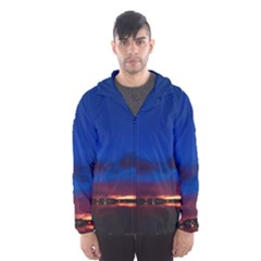 Canada Lake Night Evening Stars Hooded Wind Breaker (men)