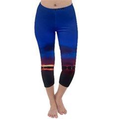 Canada Lake Night Evening Stars Capri Winter Leggings