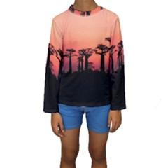 Baobabs Trees Silhouette Landscape Kids  Long Sleeve Swimwear