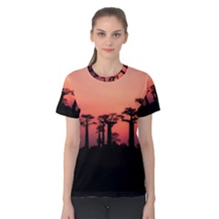 Baobabs Trees Silhouette Landscape Women s Cotton Tee