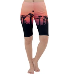 Baobabs Trees Silhouette Landscape Cropped Leggings