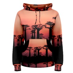 Baobabs Trees Silhouette Landscape Women s Pullover Hoodie
