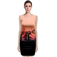 Baobabs Trees Silhouette Landscape Classic Sleeveless Midi Dress
