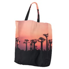 Baobabs Trees Silhouette Landscape Giant Grocery Zipper Tote