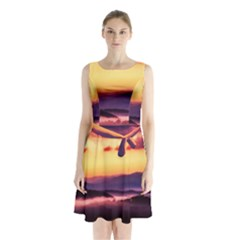 Great Smoky Mountains National Park Sleeveless Waist Tie Chiffon Dress