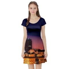 San Francisco Night Evening Lights Short Sleeve Skater Dress