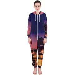 San Francisco Night Evening Lights Hooded Jumpsuit (ladies)