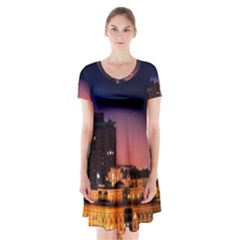San Francisco Night Evening Lights Short Sleeve V Neck Flare Dress