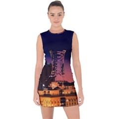 San Francisco Night Evening Lights Lace Up Front Bodycon Dress