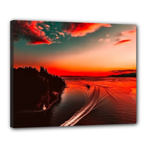 Sunset Dusk Boat Sea Ocean Water Canvas 20  X 16