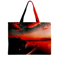 Sunset Dusk Boat Sea Ocean Water Zipper Mini Tote Bag