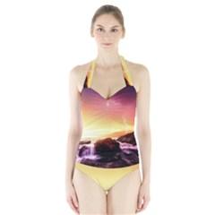 California Sea Ocean Pacific Halter Swimsuit