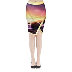 California Sea Ocean Pacific Midi Wrap Pencil Skirt