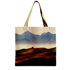 Landscape Mountains Nature Outdoors Zipper Grocery Tote Bag
