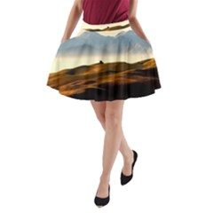 Landscape Mountains Nature Outdoors A Line Pocket Skirt