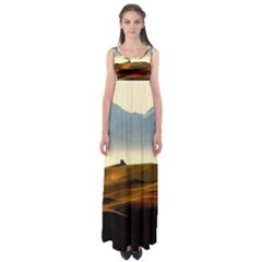 Landscape Mountains Nature Outdoors Empire Waist Maxi Dress