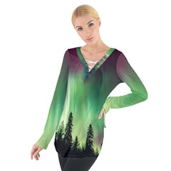 Aurora Borealis Northern Lights Tie Up Tee