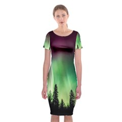 Aurora Borealis Northern Lights Classic Short Sleeve Midi Dress