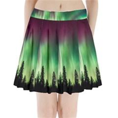 Aurora Borealis Northern Lights Pleated Mini Skirt