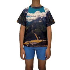 Italy Valley Canyon Mountains Sky Kids  Short Sleeve Swimwear
