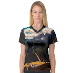 Italy Valley Canyon Mountains Sky V Neck Sport Mesh Tee