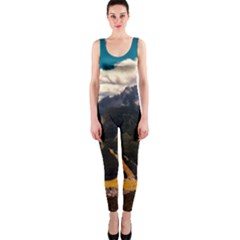 Italy Valley Canyon Mountains Sky Onepiece Catsuit