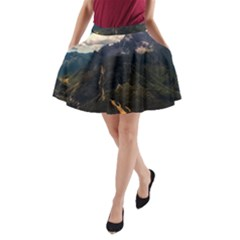 Italy Valley Canyon Mountains Sky A Line Pocket Skirt