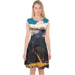 Italy Valley Canyon Mountains Sky Capsleeve Midi Dress