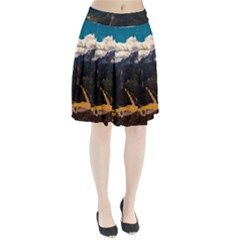 Italy Valley Canyon Mountains Sky Pleated Skirt