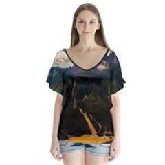 Italy Valley Canyon Mountains Sky V Neck Flutter Sleeve Top