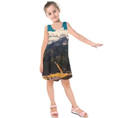 Italy Valley Canyon Mountains Sky Kids  Sleeveless Dress