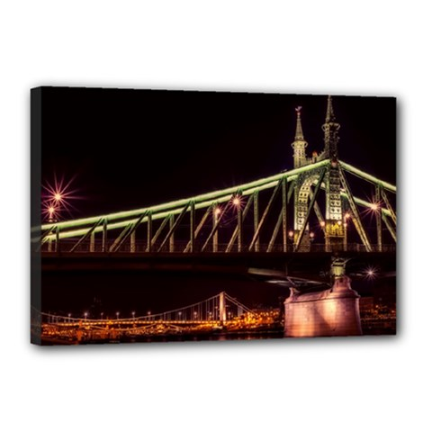 Budapest Hungary Liberty Bridge Canvas 18  X 12