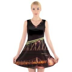 Budapest Hungary Liberty Bridge V Neck Sleeveless Skater Dress