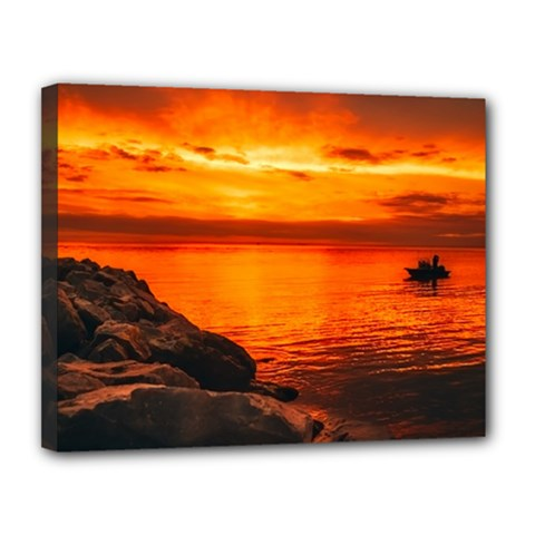Alabama Sunset Dusk Boat Fishing Canvas 14  X 11